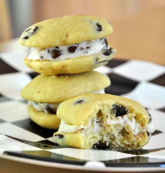 chocolate chip whoopie pies with chocolate chip buttercream filling