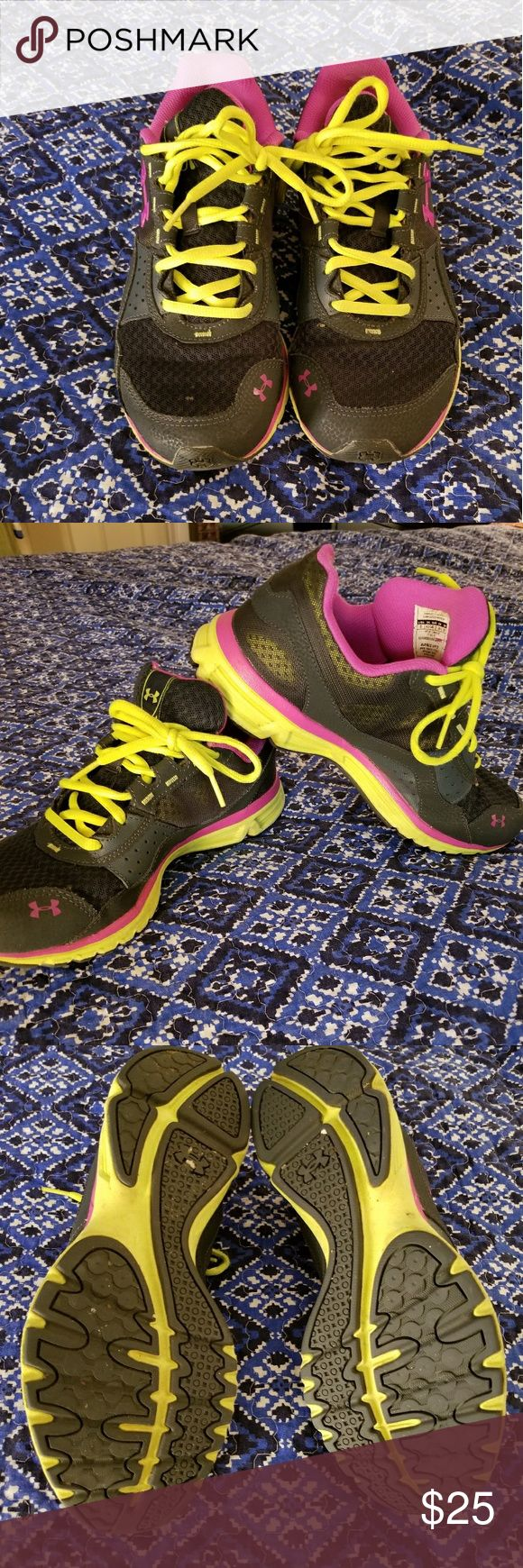 Size 9 women's under armour tennis shoes In like new condition, size 9 comfortable tennis shoes. Colors are pink, neon and black. Under Armour Shoes Athletic Shoes