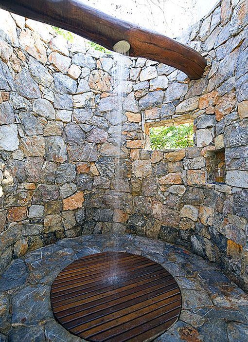 Great outdoor shower idea ... Install a filtration system at the bottom of the well, recycle your water, water your plants!