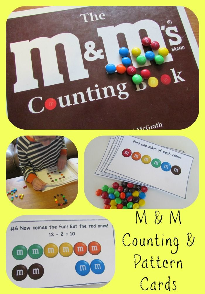 M & M's Counting & Pattern Cards with FREE printables! #m&ms #math #mathgames