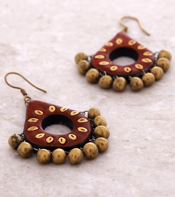 Red & Golden Hand Painted Terracotta Earrings