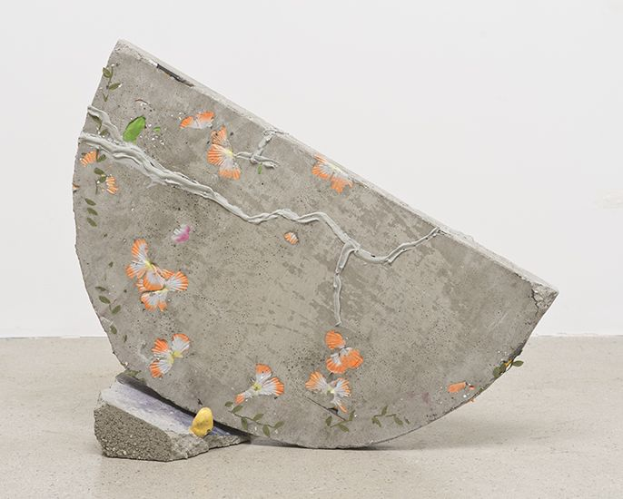 Katy Cowan  'Moon (Front & Back)'  2014  Concrete, fabric dye, sawdust, pencils, fake flowers, ceramic toe cast  24.5 x 25.5 x 9 inches, 62....