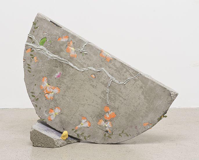 Katy Cowan  'Moon (Front & Back)'  2014  Concrete, fabric dye, sawdust, pencils, fake flowers, ceramic toe cast  24.5 x 25.5 x 9 inches, 62....