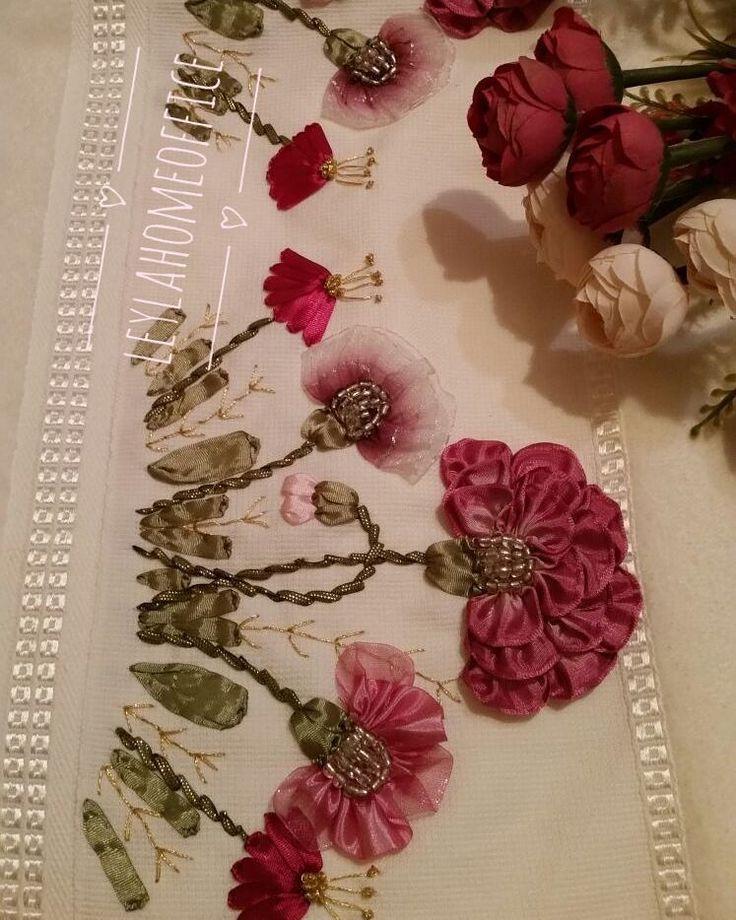 Hayırlı akşamlar #goodnight #flowers #pink #kurdelenakisi#homesweethome #havlu # bohça#Seccade #ribbon ribbonart #instagood#instagram #kurdele #desen #desing #kınahediyesi #kişiyeözel