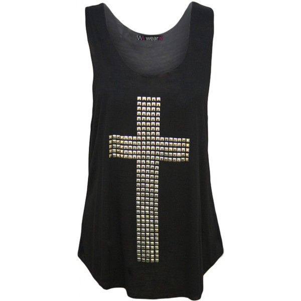 Liberty Cross Stud Vest ($15) ❤ liked on Polyvore featuring tops, shirts, tank tops, black, black cross shirt, black vest, studded cross shirt, vest shirt and sleeveless tops