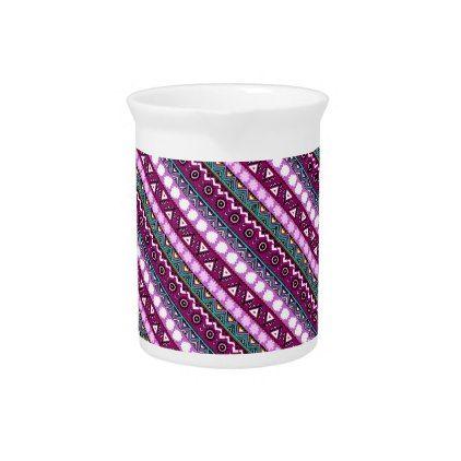 Colorful ethnic patterns design beverage pitcher - pattern sample design template diy cyo customize