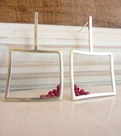 Lantern of Broken Rubies Sterling Silver Earrings by Stilosissima, $98.00