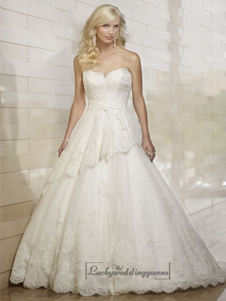 Strapless Semi Sweetheart Lace Ball Gown Wedding Dresses