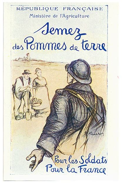 French World War I poster - soldiers & farmers together