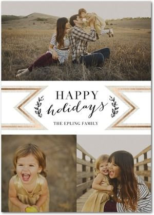 Frosty Ribbon - Flat Holiday Photo Cards in White or Black | Baumbirdy