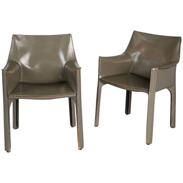 Mario Bellini Pair of Grey Leather Cab Armchairs for Cassina, Italy For Sale
