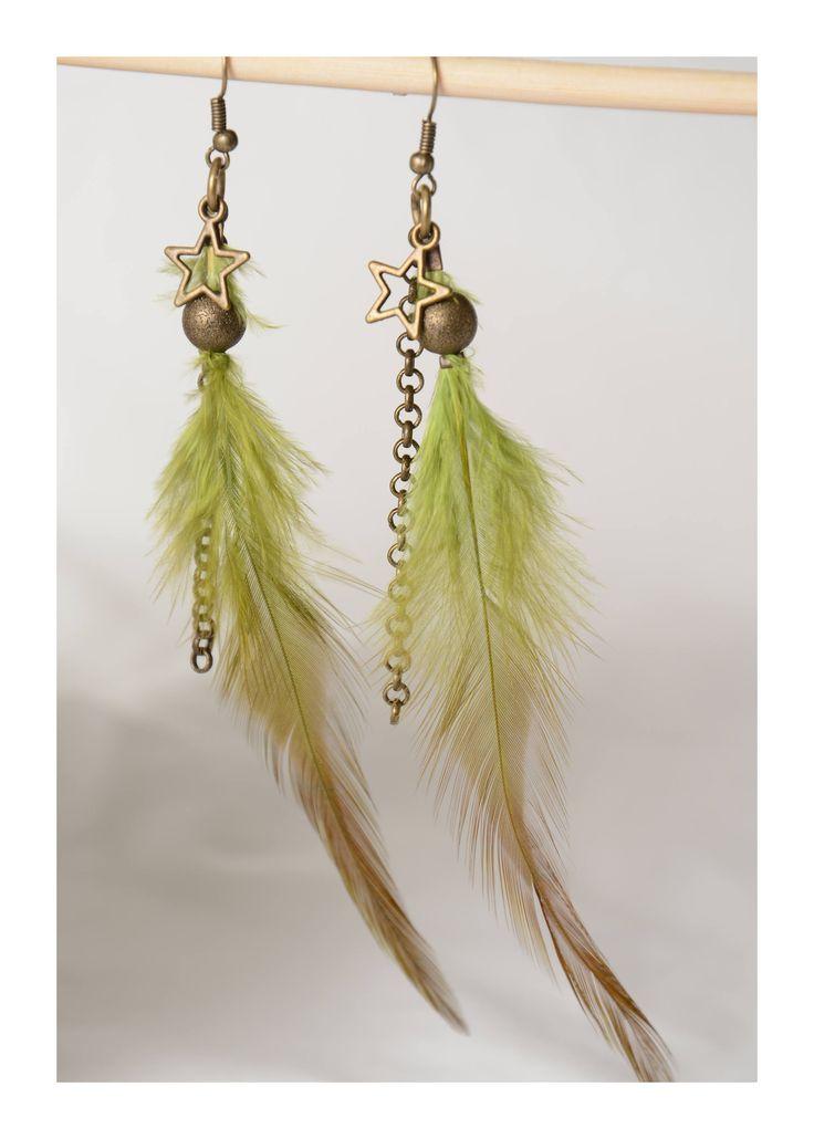 Boucles d'oreilles plumes vertes bille bronze antique accessoire bronze antique de la boutique madamebrigitte sur Etsy