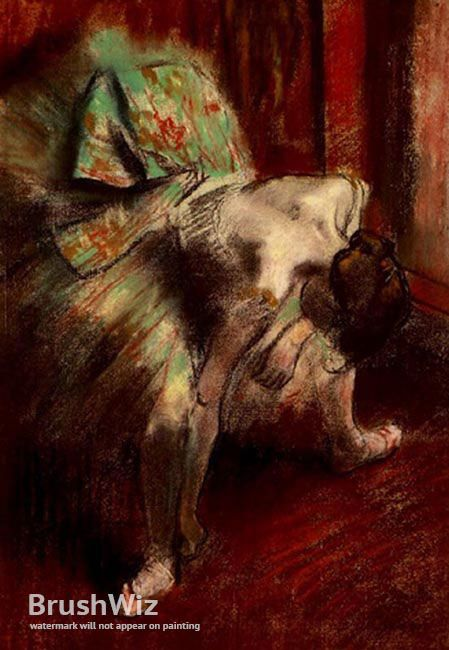 Dancer In Green Tutu by Edgar Degas - Oil Painting Reproduction - BrushWiz.com