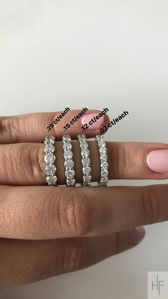 Wedding ring size guide. Diamond eternity rings by carat  size. 5 carats total weight to 1.5 carats total weight.  Hannah Florman Private Jeweler. Bridal and Custom Diamond Jewelry.