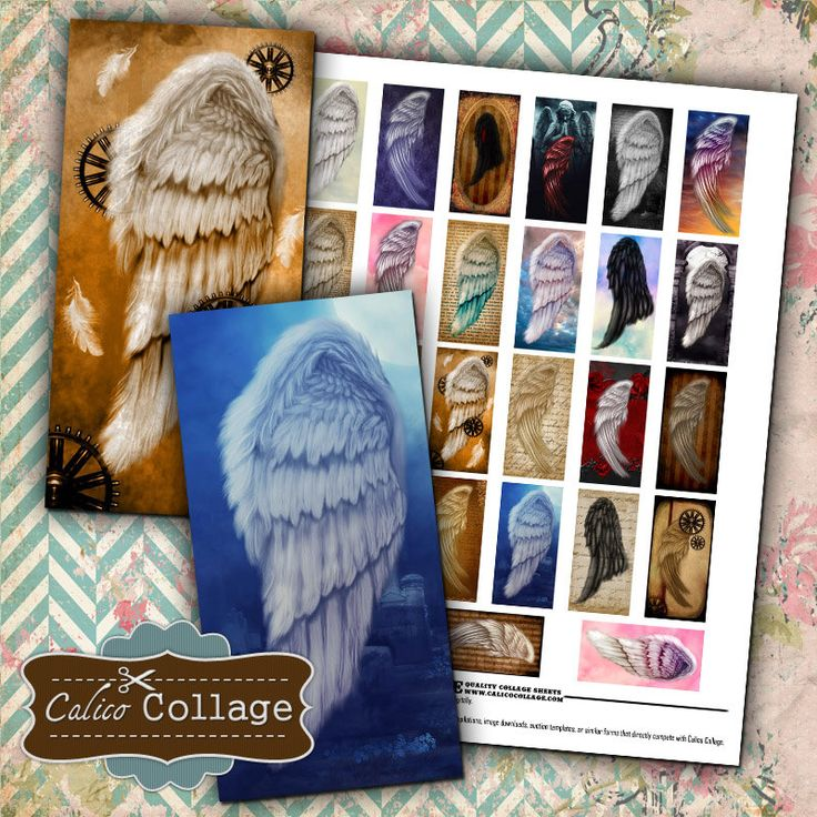 Angel Wings - 1x2 inch domino size images Collage Sheet printable download for pendants magnets bezel trays vintage paper Calico Collage by calicocollage on Etsy