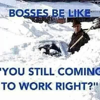 In Canada you can't blame the weather for not going to work!