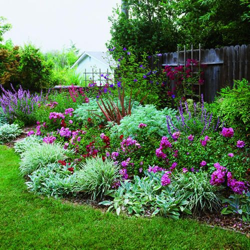 Layer plants by height. Place the shortest growers in front and the tallest ones in the back.    Limit the color palette. For color impact without a confetti look, Gray mainly stuck to two flower colors. Vivid pink roses lead the eye through the border, while butterfly bush, Mexic...
