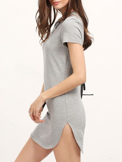 Shop Grey Minis Short Sleeve Split Dress online. SheIn offers Grey Minis Short Sleeve Split Dress & more to fit your fashionable needs.