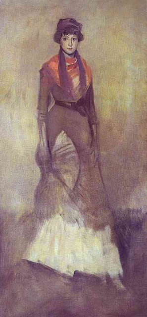 James McNeill Whistler's Harmony in Fawn Colour and Purple: Portrait of Miss Milly Finch 1885