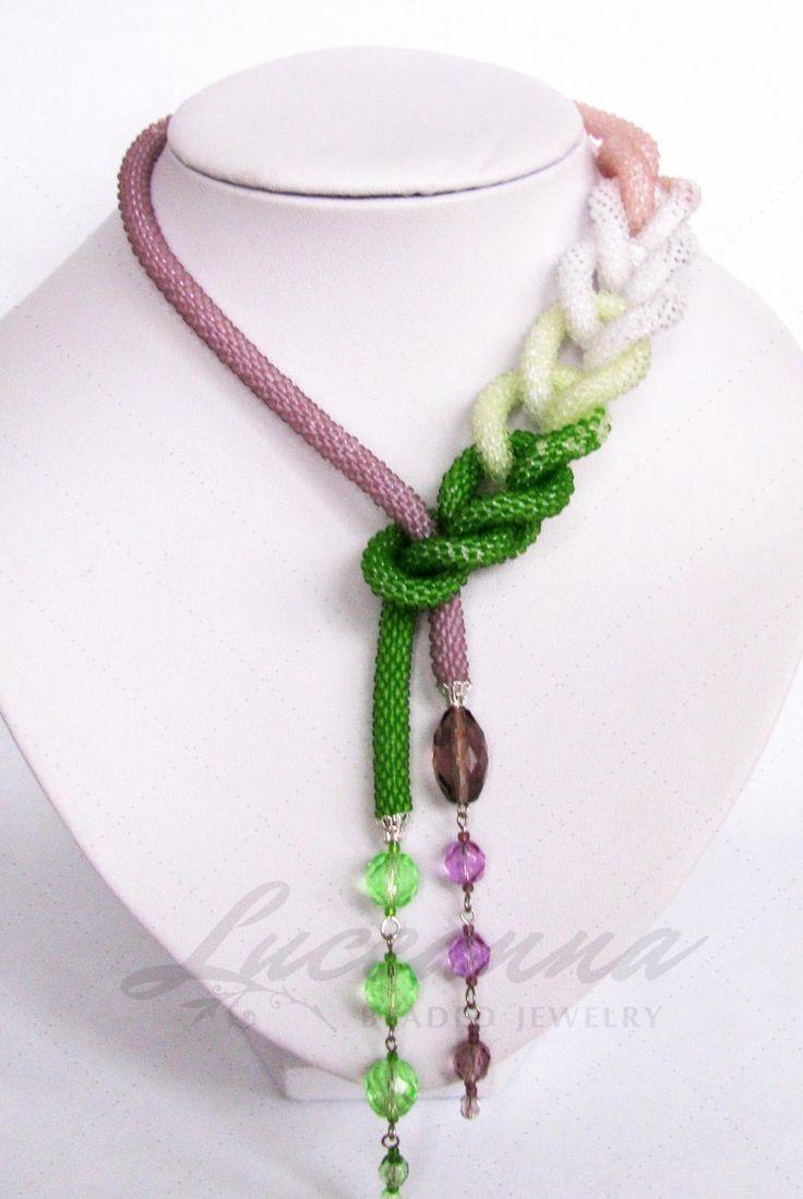 Bead crochet necklace. Lovely:)