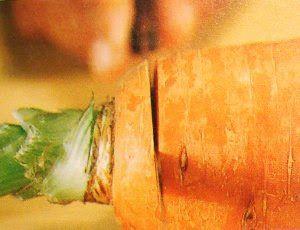 Arte de esculpir frutas e legumes: Folha em cenoura