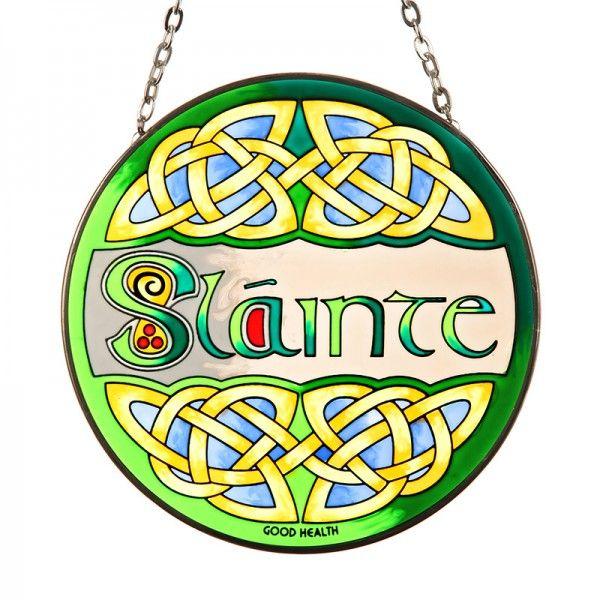 Slainte .keltisches Fensterbild aus Glas