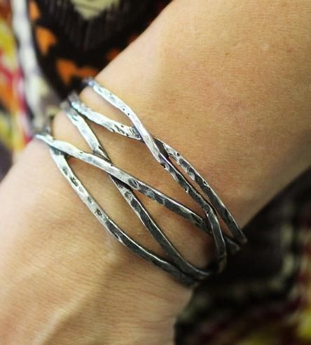 Silver & Pewter Intertwining Cuff Bracelet