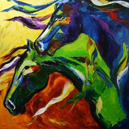 Two Horses, oil painting
