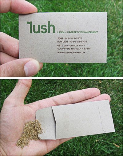 As a gardener I adore this card. It is a lawn care service printed on an envelope with grass seed enclosed. You can also plainly see their logo which is simple and fitting. The palette also refers  back to the idea of a yard.