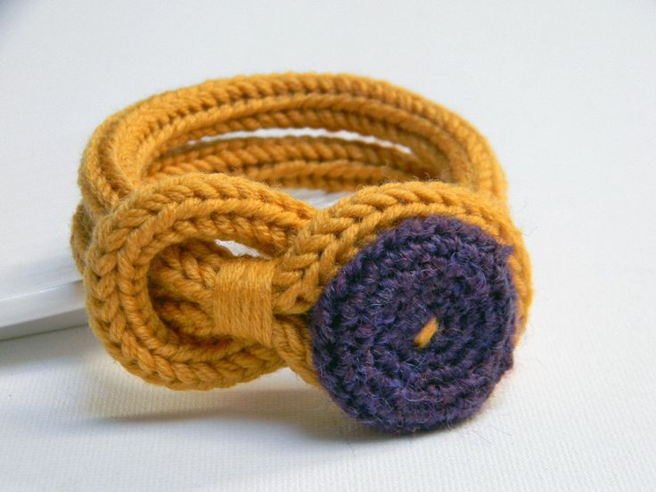 Mustard yellow and purple knitted wool yarn bracelet