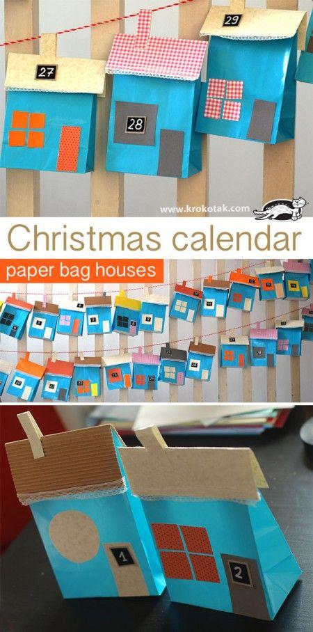 Коледен календар - къщички от  хартиени пликове