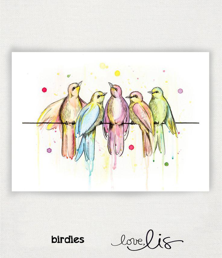 birdies - Love Lis NZ #nz #print #birds #lovelisnz #art #paint