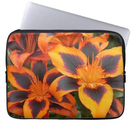 Orange Asian Lilies Floral Computer Sleeve - photography gifts diy custom unique special