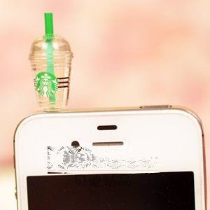 Cyprustech - Hot New Starbucks Coffee Style 3.5mm Headphone Anti-dust Plug Cap for Iphone 4 4S Samsung Galaxy HTC LG - Transparent Color
