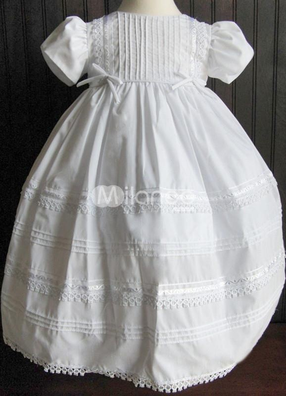 White Bow Lace Cotton Christening Dress. White Bow Lace Cotton Christening Dress. See More Christening Dresses at http://www.ourgreatshop.com/Christening-Dresses-C909.aspx