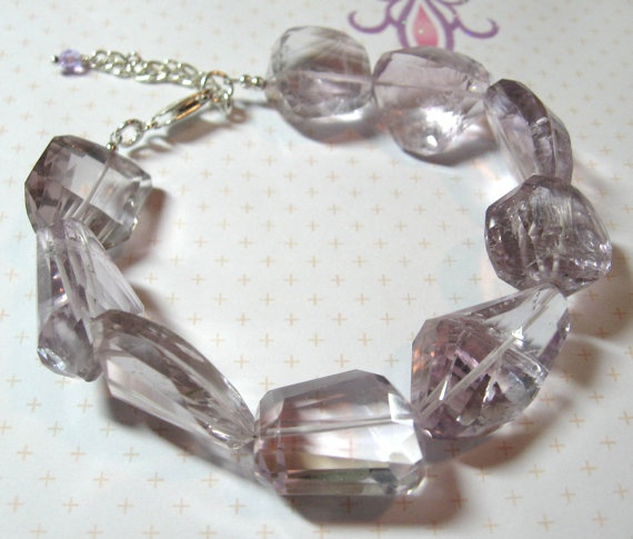 Faceted Nugget Amethyst Bracelet by DirtyBirdJewellery on Etsy, $120.00