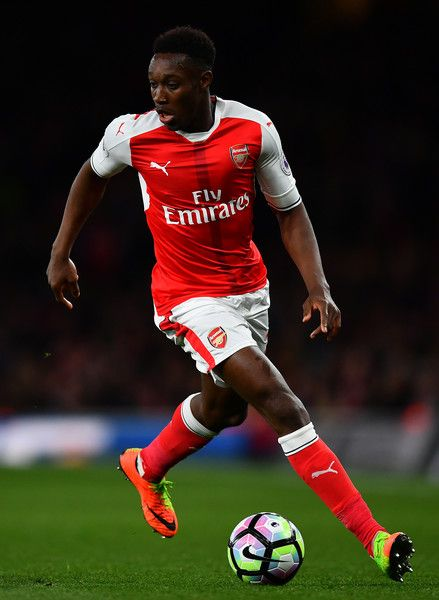 Danny Welbeck of Arsenal takes the ball forward during the Premier League match between Arsenal and West Ham United at Emirates Stadium on April 5, 2017 in London, England.