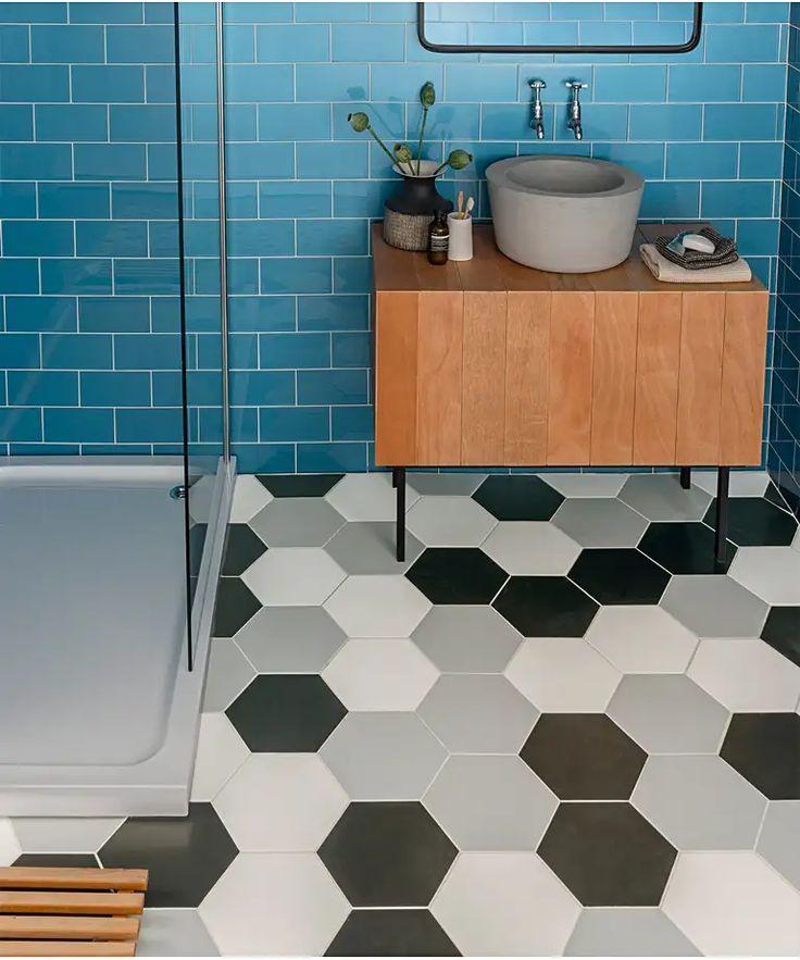 Apini™ Black Tile in 2020 Black tiles, Flooring, White tiles
