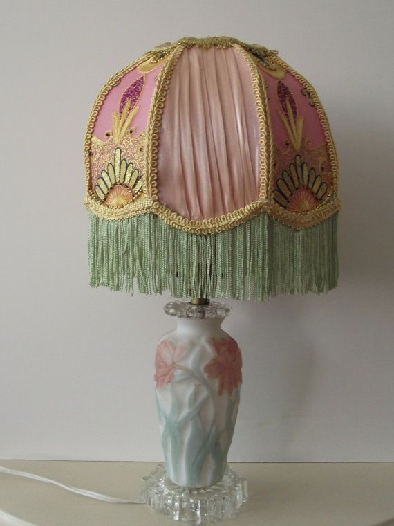 Handmade Pink and Green Handmade Lampshade With Matching Glass Lamp Save  40% Coupon JANUARYLAMPSALE