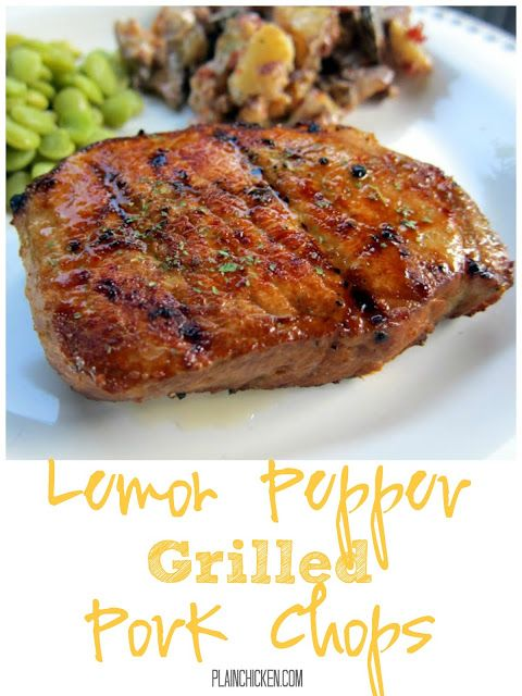 Grilled Lemon Pepper Pork Chops Recipe - boneless pork chops marinated in lemon pepper, soy sauce, Worcestershire Sauce and garlic - cook on the grill for a quick and delicious dinner! Can marinate the night before and grill when you get home from work.