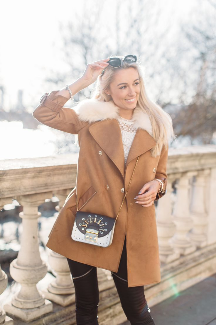 What I'm Wearing Coat by River Island | Top by Coast | Leggings by SilkFred | Bag by Furla | Watch by Cluse | Bracelets by Monica Vinader & Links | …