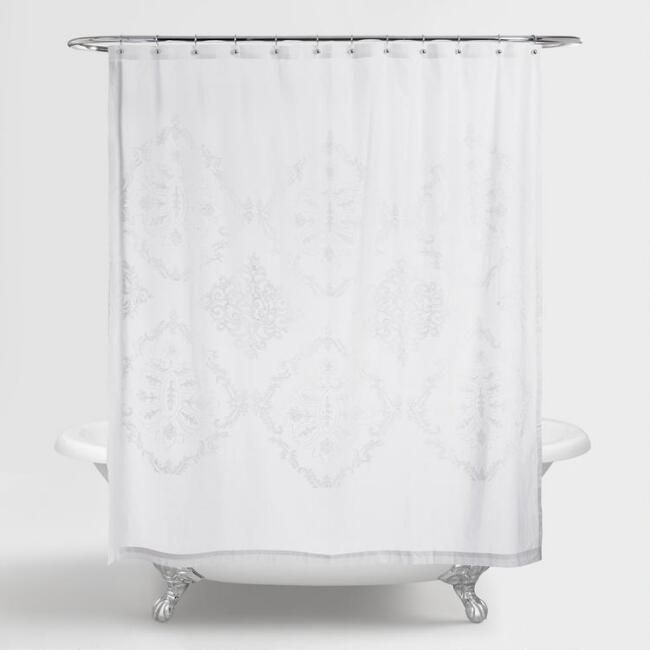White Lilith Floral Shower Curtain - v1