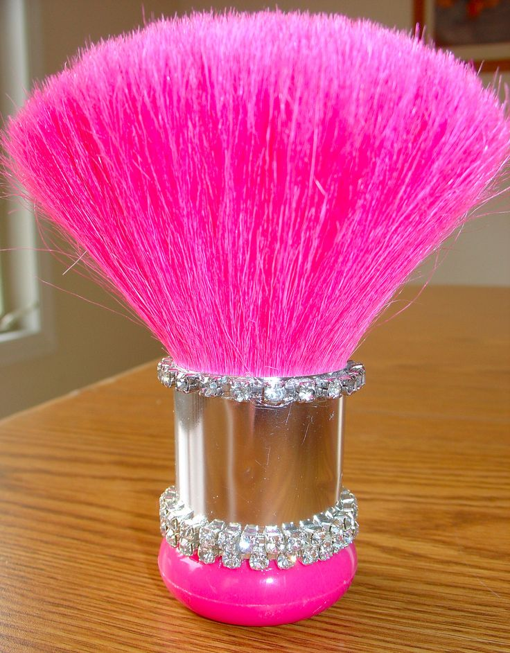 """""""My Own"""" PINK huge puffy make-up brush with bling made by my talented mom :)   She made this for me as a get well gift for Cancer surgery I had June 2012."""