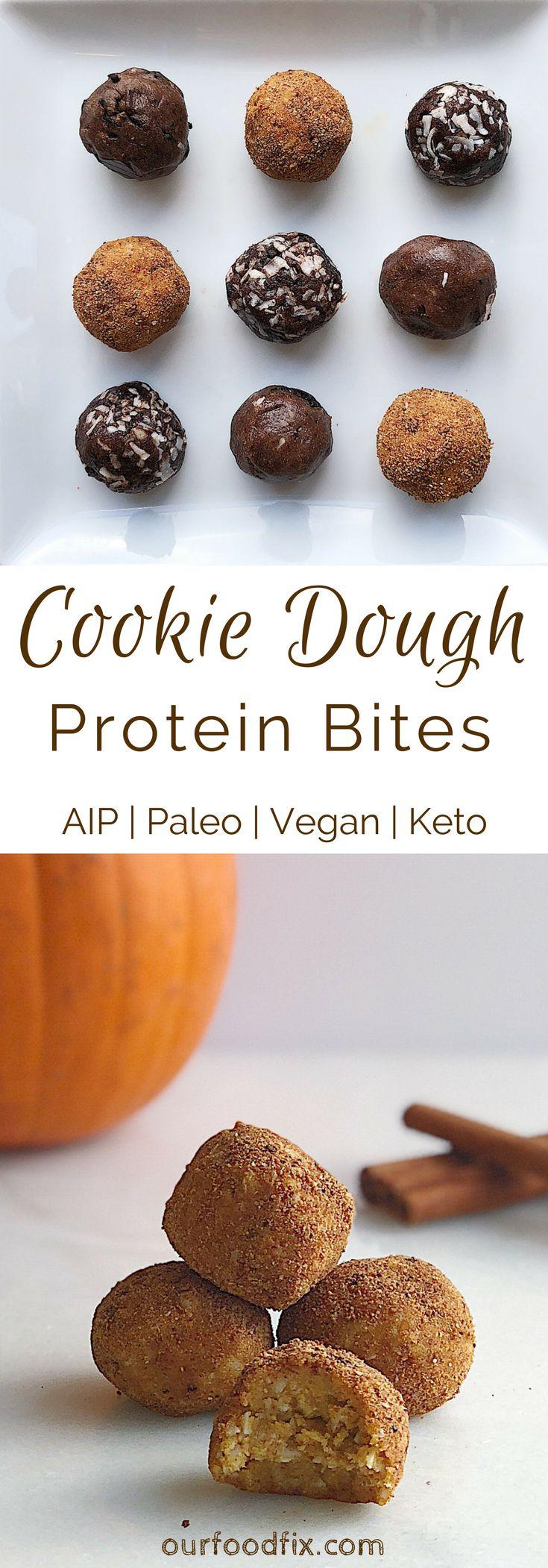 Cookie Dough Protein Bites 3 Ways (AIP, Keto, Vegan)