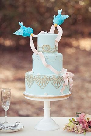 Cinderella love birds blue wedding cake