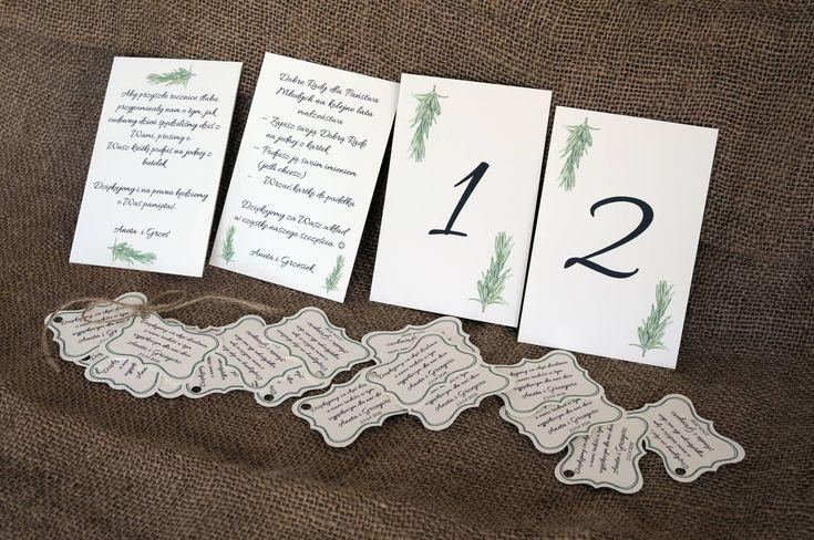 Numery stołów, dodatki z motywem rozmarynu / Table numbers with rosemary