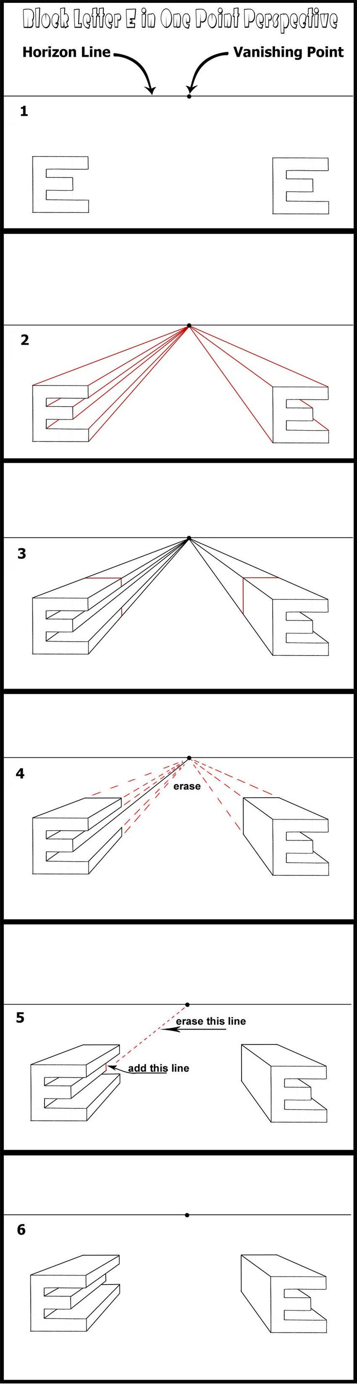 One point perspective Letter E
