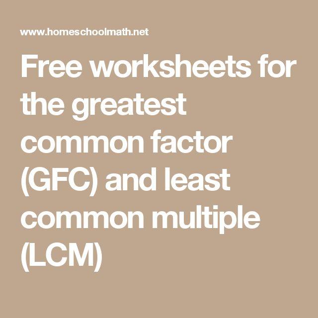 Greatest common multiple worksheets