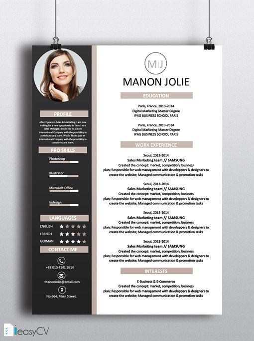 585 Best Curriculum Vitae Images On Pinterest | Cv Resume Template