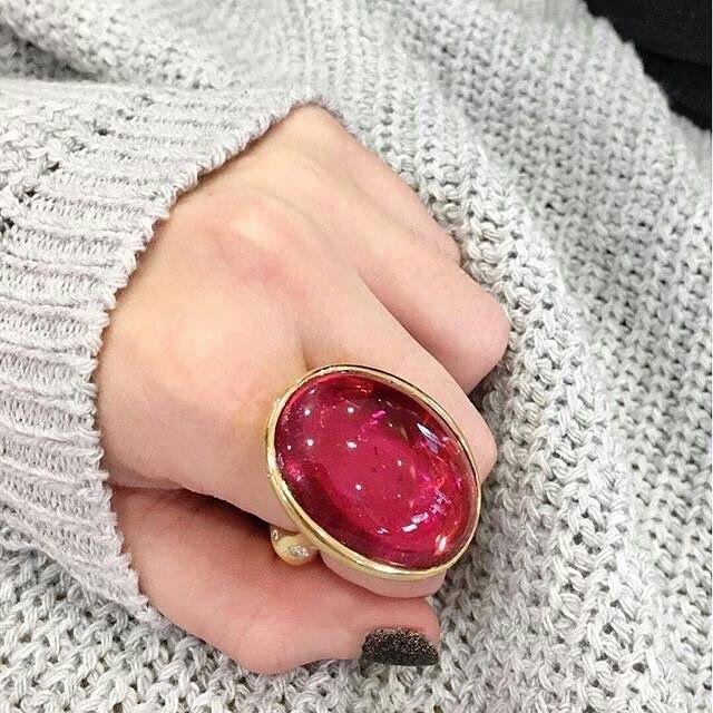 Pink #tourmaline and #diamond ring by @ricardobastajewelry